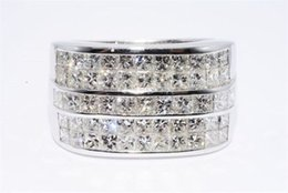Wholesale Natural Diamonds Ring - 3.98CT MENS 5 ROW NATURAL PRINCESS CUT DIAMOND PINKY RING 18K WHITE GOLD