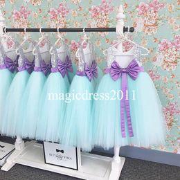 Wholesale Kids Bridesmaid Dresses Line - Real Photo 2016 Flower Girls Dresses for Weddings Mint Tutu Skirt Silver Sequins Jewel A-Line Junior Bridesmaid Dress Kids Formal Gowns