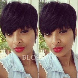Wholesale Thick Black Wig - High Density Human Natural Hair Longer Pixie Cuts Short Layered Cut Wigs For Black Women Thick Hair Glueless Full Wigs
