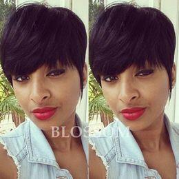 Длинный черный парик толщиной онлайн-Высокая Плотность Человеческих Натуральных Волос Больше Пикси Сокращает Короткие Слоистые Вырезать Парики Для Черных Женщин Толстые Волосы Glueless Полные Парики