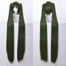 Wholesale Hatsune Miku Hair Cosplay - Vocaloid Hatsune Miku 48'' 120cm Long Straight Army Green Cosplay Hair Wig N034