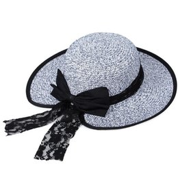 Wholesale Butterfly Garden Party - Brand new New summer big along the sun hat women lace butterfly straw hat hooded hat M018 with box