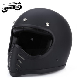 Wholesale Retro Full Face Helmet - Wholesale- Motorcycle Full Face Helmets Safety Retro Unisex Detachable Motorbike Helmet ABS Shell L