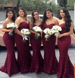 Wholesale Silver Wine Red Wedding - Elegant Burgundy Sweetheart Lace Mermaid Cheap Long Bridesmaid Dresses 2017 Wine Maid of Honor Wedding Guest Dress Prom Party Gowns
