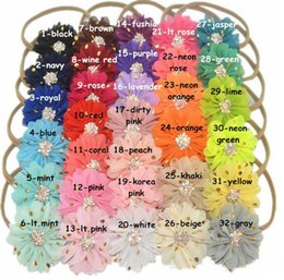 Wholesale Hair Stretch Combs - Children chiffon flower headdress Pearl diamond 8CM bronzing nylon stretch hair band Baby photograph props 32 colors Accessories