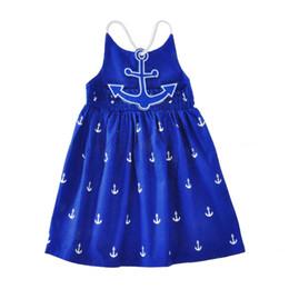 INS Europe et Amérique nouvelle arrivée fille robe été sans manches coton coton ancre complet imprimé jarretelles robe fille élégante robe ? partir de fabricateur