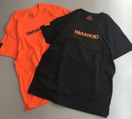 Wholesale Men Black Sleeves - 2017 Summer Kanye West GD t-shirt 1:1 quality T Shirt Men Women Paranoid Undefeated 100%Cotton