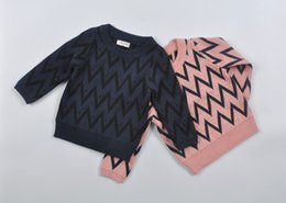 Wholesale Cotton Jumpers For Girls Clothing - Kids jacquard wave patterns sweater baby boys girls Ripples retro jumpers ins hot children's outfits pullover clothing 4colors for 6m-7T