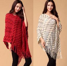 Wholesale Ladies Wool Blend Wrap Shawl - Autumn Fashion Knit Ponchos Leisure Cardigan Knitting Coat Lady Batwing Cape Tassels Poncho Shawl Wraps Pullovers Sweater C3044
