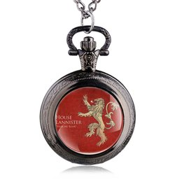 Wholesale Heart Pocket Watch Pendant - Quartz Pocket Watch Game of Thrones Lannisters Family Black Silver Bronze Color Necklace Jewelry Accessory Wholesale