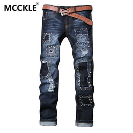 Wholesale Straight Pantalones - Wholesale-Hi-Street Mens Ripped Hip Hop Jean Trousers With Rivet Designer Slim Fit Hip Hop Denim Joggers Distressed Pantalones Vaqueros