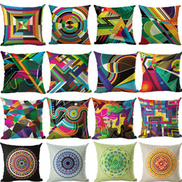 Wholesale 18x18 Pillow Cases - Decorative Pillow Case Colorful Geometric Pillowcase 18x18 Inches Woven Cotton Linen Chair Seat Throw Pillow Cover