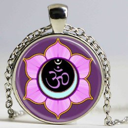 Wholesale Ohm Necklace - Om Ohm Aum Namaste Yoga Symbol necklace charming bright colorful om logo pendant pretty Indian style women jewelry gift