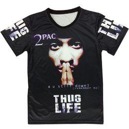 Wholesale Hiphop Men S Tshirt - Wholesale- Raisevern harajuku summer 3D t shirt print tupac 2pac thuglife t-shirt men women's tee hiphop punk short sleeve tshirt plus size