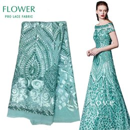 Wholesale Mint Colored Dresses - Mint Green Sequined African Lace Fabric 2017 Latset French Mesh Net Lace Indian Wedding Mariage Dresses Material Free Shipping