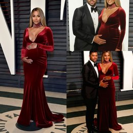 Wholesale pregnant dress up - 2017 Velvet Mermaid Prom Dresses Sexy V Neck Long Sleeves Sweep Train Formal Evening Gowns Custom Made Celebrity Pregnant Dresses