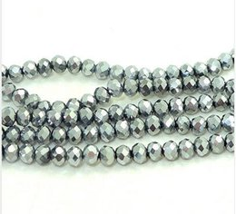 Wholesale Rondelle Beads Wholesale 4mm Faceted - Wholesale 5 pcs package Rondelle Faceted Silver Crystal Glass loose Spacer Beads Diy 4mm 6mm 8mm 10mm gems loose beads 15 inch