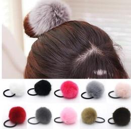 Wholesale Diamond Ponytail Holders - Korean Artificial Rabbit Fur Ball Elastic Hair Rope Rings Ties Bands Ponytail Holders Girls Hairband Headband Hair Accessories