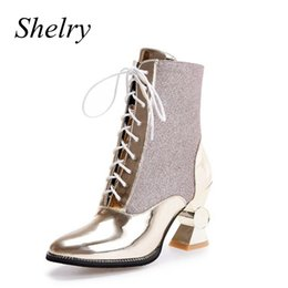 Wholesale Sliver Heels - Wholesale- women boots 2016 autumn and winter women shoes unique high heels pointed toe ankle boots lace up gold and sliver booties