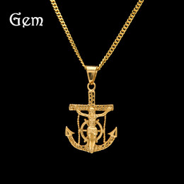 Wholesale Brass Anchor Charm - Cool Anchor Jesus Pendant Fashion Necklaces For Man Tops Hip Hop Jewelry Gold Chains Luxury Party Accessory Freeshipping