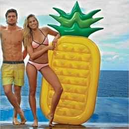 Wholesale Island Wholesalers - Hot Inflatable Pool 71 inch 180CM Pineapple Air Mattress Fruit Bali Island Holiday Inflatable Swim RING Pool Float Water Toy YYA226