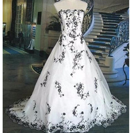vintage summer dress designs Promo Codes - New Design US2-26W++ White and Black Bridal Gowns Embroidery Real Image Vintage A Line Wedding Dress Strapless Custom Size Charming Top