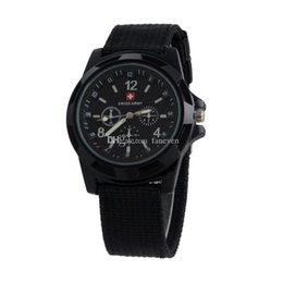 Wholesale Watches For Army - New Arrivals Luxury Mens Military swiss Watch Swiss Army watches logo Nylon Strap Quartz Movement SPORT Wristwatch For MEN