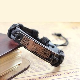 Wholesale Scripture Charms - Cross Jesus Scripture Bracelet Leather Handmade Religion Jewelry Memento Charm Souvenir Totem Vintage Wrist Accessoriies Christian A28
