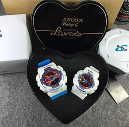 Wholesale Couple Lover Hearts - Heart Box BABY-G box Bags Lovers sports watches LED men womens couples gift ga110 baby g watch Auto light