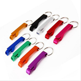 Wholesale Aluminum Cans - Beer Can Bottle Opener Aluminum Alloy Opener Keychain Portable Multifunction Opener Kitchen Dining Bar Tool Many Colors YW169