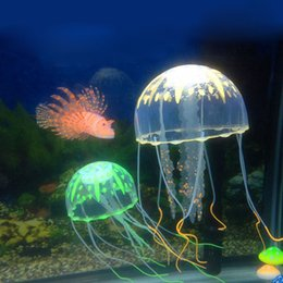 Wholesale Aquarium Decorations Free Shipping - 8cm Vivid Glowing Effect Fluorescent Artificial Jellyfish Aquarium Fish Tank Decoration Ornament Swim Pool Bath Decor Free Shipping ZA2250