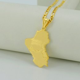 Wholesale Flag Link - Republic of Iraq Map national flag,18K Real Gold Plated Map of Iraq Pendant Necklaces Jewelry For Women Men,Iraqi Items #030606