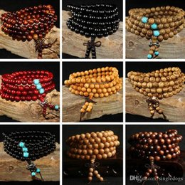Wholesale Natural Sandalwood Beads - 108*8mm Natural Sandalwood Buddhist Buddha Meditation 108 Beads Wood Prayer Bead Mala Bracelet Gift For Father Mother Women Men Jewelry