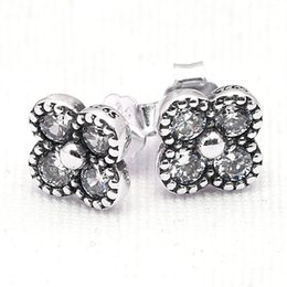 Wholesale New Sterling Silver Earring Pretty Oriental Blossom With Crystal Studs Earring Compatible With Pandora DIY Jewelry HRAPD882