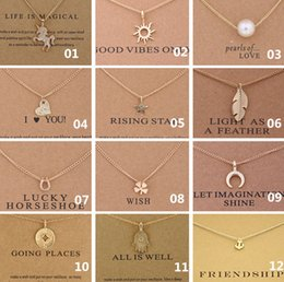 Wholesale circle pearl necklace - 38 Style Dogeared Choker Necklaces With Card Unicorn Love Heart Elephant Pearl Circle Pendant Necklace Gold Plated Chain Fine Jewelry A336