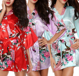 Wholesale Traditional Kimono Robe Women - Hot Sale Silk Satin Wedding Bride Bridesmaid Robe Short Kimono Night Robe Floral Bathrobe Fashion Dressing Gown For Women H02