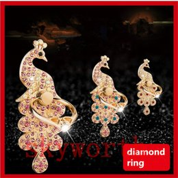 Wholesale Diamond Mobile Phone Stand - Luxury Universal Mobile Phone Diamond Ring Stent Cell Phone Ring Holder Finger Grip with Free Hook for Car Using Phone Stand