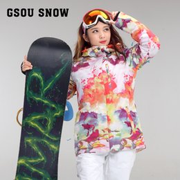 Wholesale Korean Snow Jacket - Wholesale- GSOU SNOW Snowboard clothing ladies Korean style new waterproof windproof Plaid ski suit super thick warm ski jacket