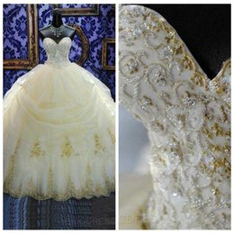 Wholesale masquerade deco - 2017 16 Years Dress Ball Gowns Quinceanera Dresses Lace Appliques Organza Gold Beaded Sequined Masquerade Debutante Gowns Custom Made