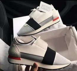 Wholesale Designer Fashion Women Flat Shoes - 2017 New Designer Name Brand Woman Man Shoes Flat Fashion Red Whole White Leather Mesh Mixed Color Trainer Runner Shoes Unisex Size 38-46