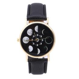 Wholesale Watch Solar - Wholesale- Solar Moon Phase Lunar Eclipse Watch Women Stylish Quartz Watch PU Leather Bracelet Watches For Women Clock women dress watch