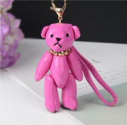 Wholesale Bear Bag Gift - Fashion New Brand Leather Tassel Gloomy Bear Keychain Keyring For Women Bag Car Key Chain Trinket Jewelry Gift Souvenirs Llavero