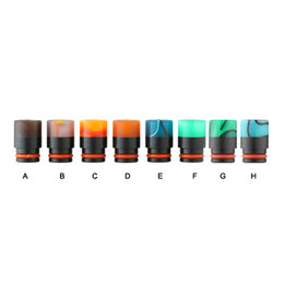 Wholesale Colour Tips - Newest Black Resin Drip Tip 510 Mouthpiece Resin Colour Stripe Drip Tips Fit RDA RBA Atomizers E Cigarette