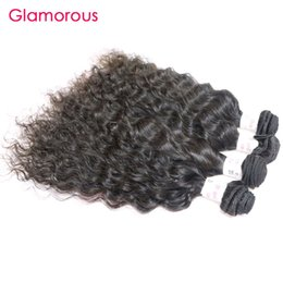 Wholesale Remy Raw Hair - Glamorous Raw Indian Hair Weave 12 to 34inches Peruvian Malaysian Brazilian Hair Bundles 4Pcs lot Natural Color 100% Human Hair Wet And Wave