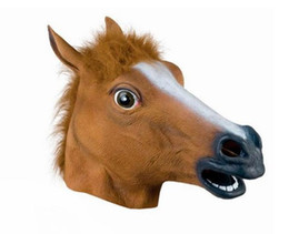 Wholesale Party Mask Making - 15hj Creepy Cosplay Horse Head Mask Headgear Halloween Costume Theater Prop For Party Make Up Decorate Horses Masks Latex Rubber