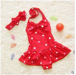 Wholesale Conjoined Bikini - Baby Swimwear Infant Skirt Dress Conjoined Dot Girls Cute Little Baby Bikini Bathing Suit Newborn Kids Swimwear DHL Free Shipping
