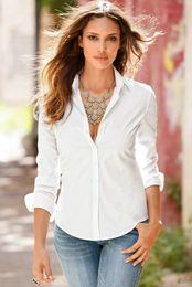 2019 blusa de manga larga blanca formal de dama Camisa elegante de la blusa blanca Mujeres S-2XL Camisas de la oficina de las señoras Blusas formales casuales Blusas Femininas de la moda de manga larga para mujer Tops blusa de manga larga blanca formal de dama baratos