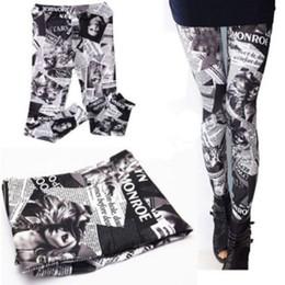 Wholesale Newspaper Letters - Wholesale- New women sexy Legging pants digita Print Letter Newspaper Leggings Black milk for women Free Shipping