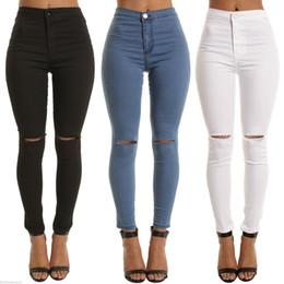 Weiße hohe taille zerrissene jeans online-mode hohe taille jeans frau Femme Stretch schwarz weiß bleistift hose denim mit taschen dünne zerrissenen jeans für frauen 2017