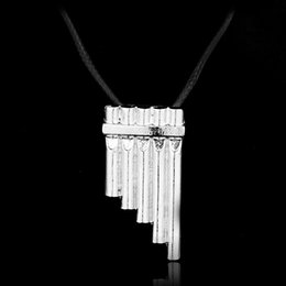Wholesale Vintage C Pendant - Peter Pan Flute Necklace Necklaces Leather Stainless Steel Jewelry Crystal Silver Vintage Necklace C S H 022